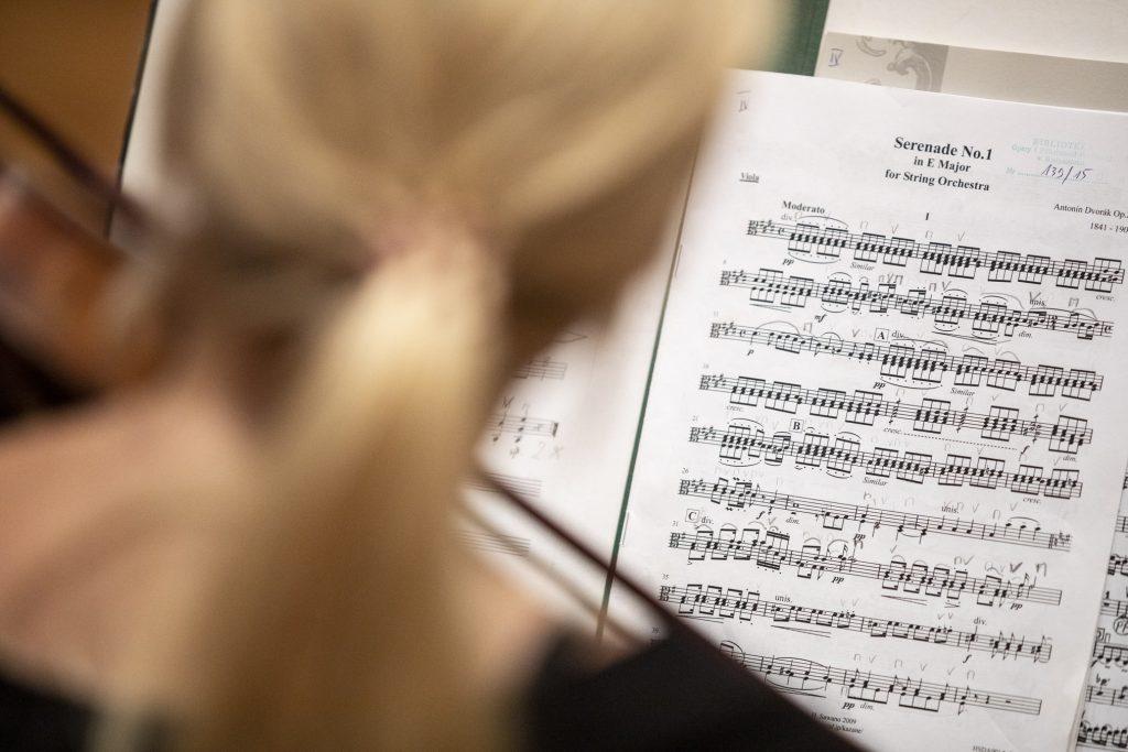 Rozłożone nuty serenady E-Dur Dworzaka , partia altówek.