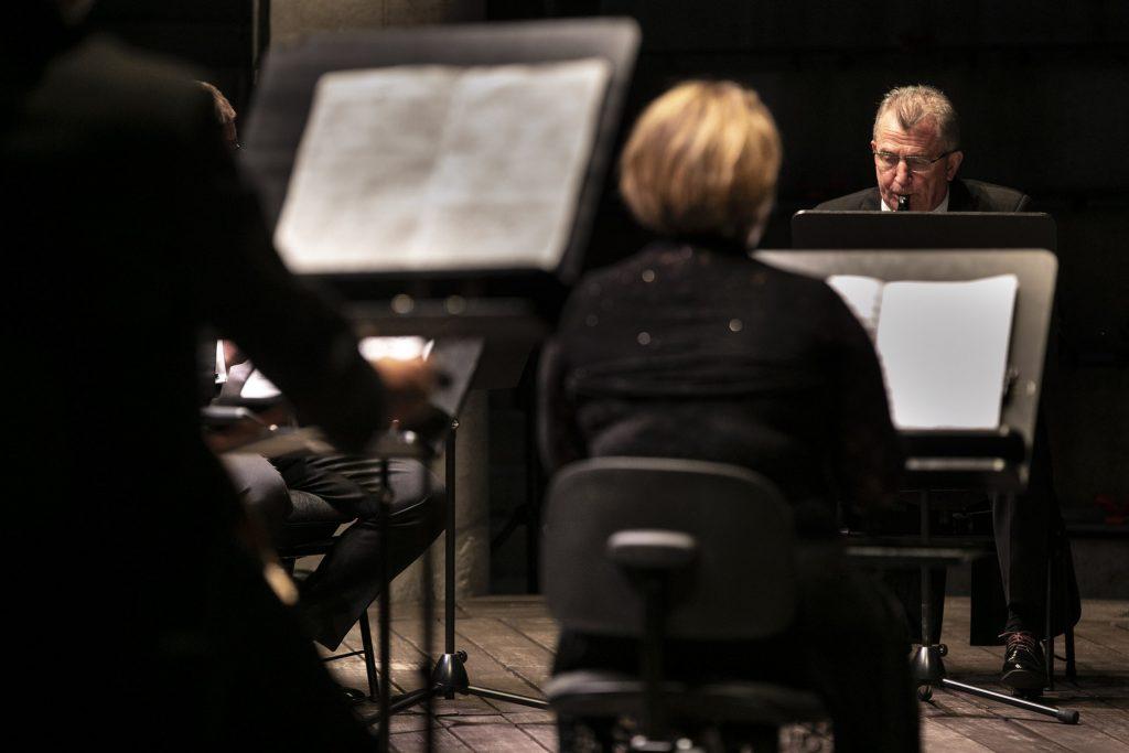 Zdjęcie obejmuje kilku muzyków orkiestry kameralnej podczas koncertu wieczornego w amfiteatrze.