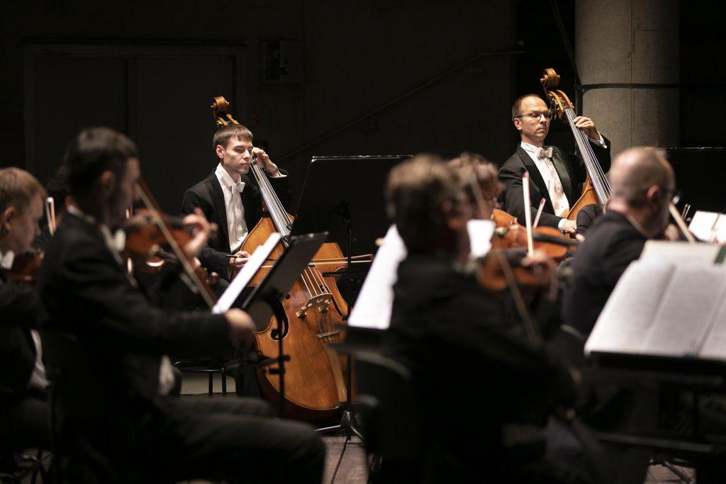 Kwintet smyczkowy Opery i Filharmonii Podlaskiej podczas koncertu wieczornego w amfiteatrze.