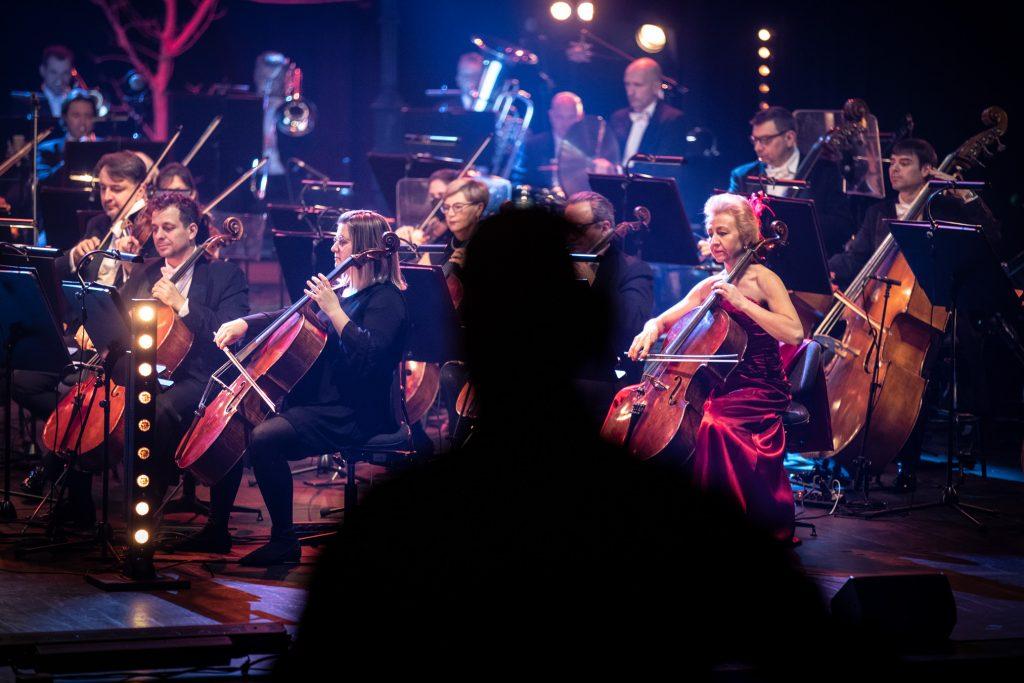 Orkiestra Opery i Filharmonii Podlaskiej podczas koncertu. Zdjęcie zrobione z boku. Na środku cień mężczyzny.