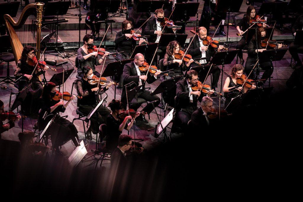 Zbliżenie na część grupy smyczkowej podczas wykonywania utworu.