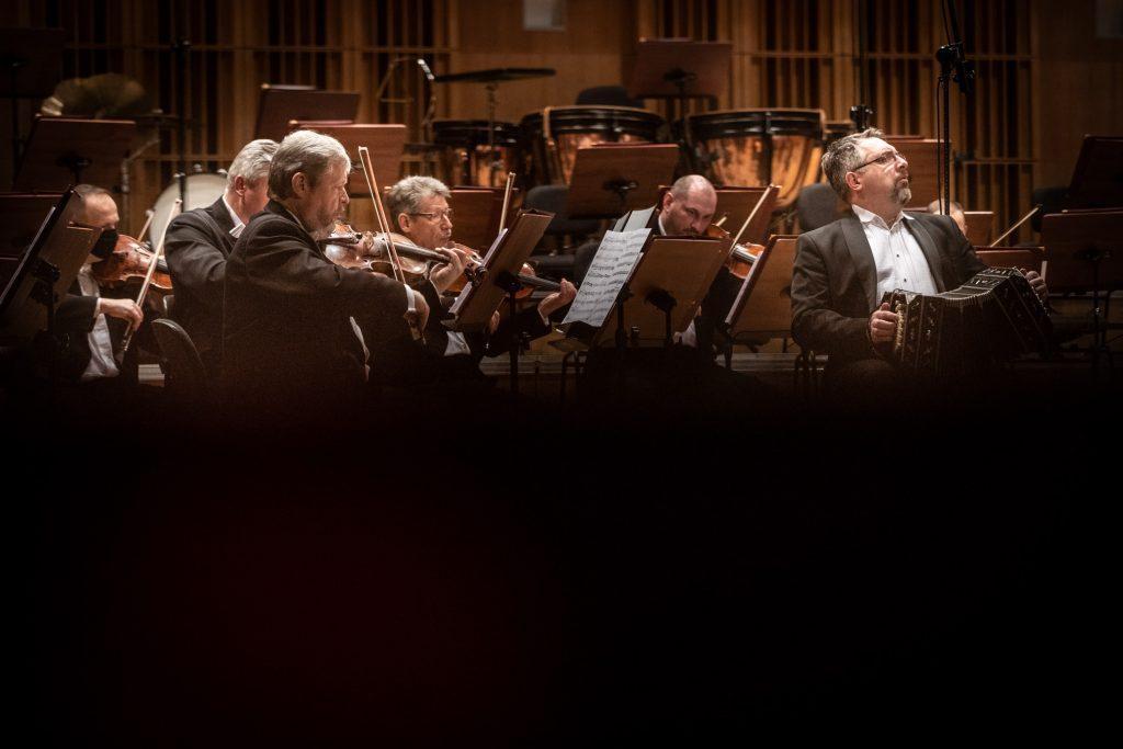 Scena sali koncertowej. Na zdjęciu widać kilku muzyków z sekcji smyczkowej podczas koncertu. Po prawej stronie siedzi mężczyzna grający na bandoneonie.