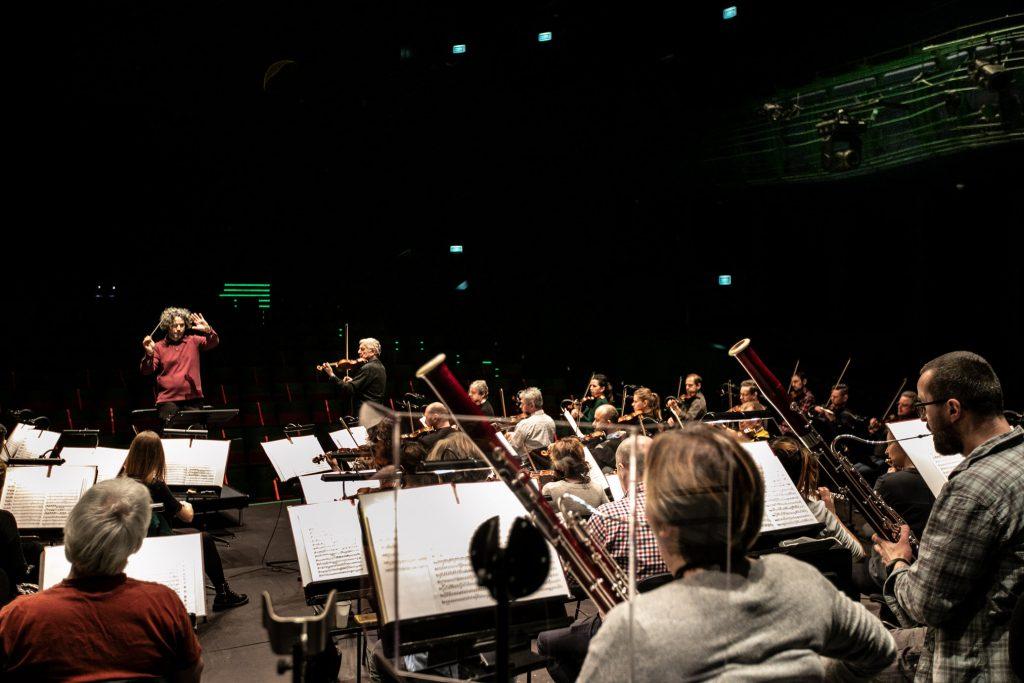 Zdjęcie zrobione z tyłu sceny. Przed pulpitami siedzi orkiestra. Na końcu po prawej stronie stoi solista. Po lewej stoi dyrygent.